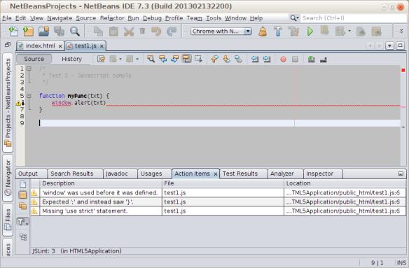 Checking JavaScript in NetBeans | Gualtiero Testa